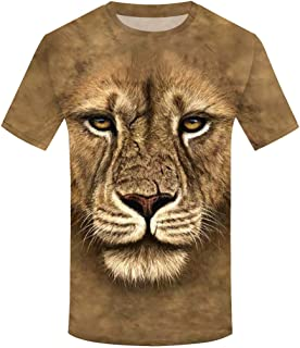 PERSOLE Fashion Men's T-Shirts Animals Print Short Sleeve Round Neck Tees Tops Summer Casual Blouses