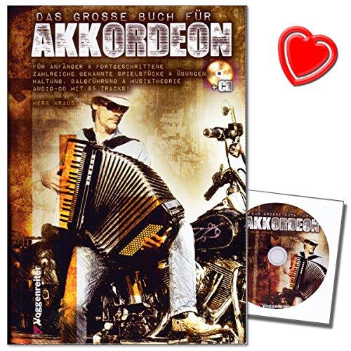 Het grote boek voor accordeon - school voor piano-accordeon van Herbert Kraus met CD en kleurrijke hartvormige notenklem - gemakkelijke weg naar het perfecte accordeonspel