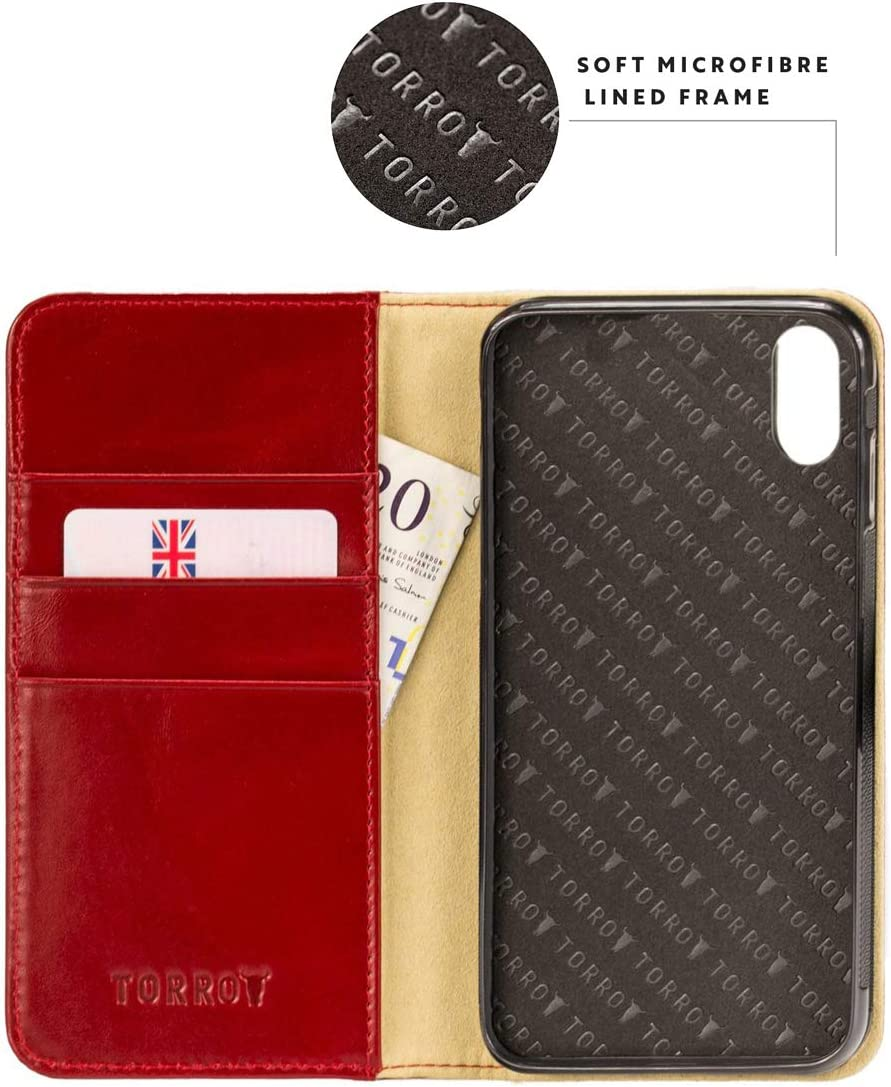 Horizontal Viewing Stand TORRO Phone Case Compatible With Apple iPhone XR Genuine Quality Leather Flip Cover With Card Slots Durable Frame Red 6.1 Inch 2018 Release