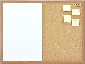 Combinazione lavagna magnetica e bacheca in sughero, cornice in legno 60cm x 40cm, bacheca, cancellabile a secco, lavagna memo con fissaggi