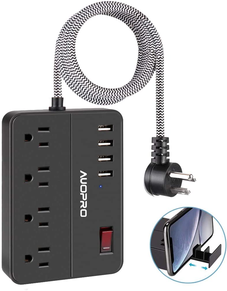 Power Strip USB mart San Jose Mall AUOPRO Flat Surge Plug 4 Outlets Protector