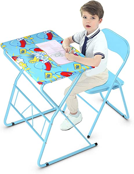 Costzon Kids Desk And Folding Chair Set For Studying Eating Art Activities Children Table And Chair With Steel Frame Non Slip Mats And Bright Color For 4 12 Year Old Boys Girls Kids Furniture