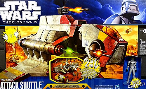 Republic Attack Shuttle mit Lights & Sounds + 2 Extra Figuren = Fahrzeug & Figur Bundle Star Wars The Clone Wars 2011 von Hasbro