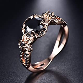(Black) Vintage Round Blue Sapphire Flower Wedding Band Ring Rose Gold Jewelry Size 5-11 (11)