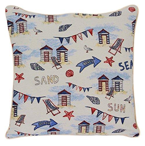 Tapisserie Siganre 45 x45 cm (18x18 in) Housse de Coussin pour canapé, taie d'oreiller Decorative Con Disegni di Moda (Cabane de Plage)
