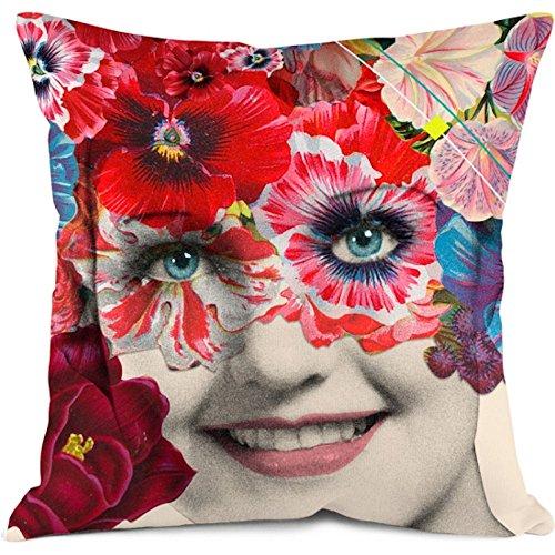 BONJOUR MON COUSSIN Kissenhülle Girl Blumen 35x 35cm Mehrfarbig Reißverschluss unsichtbar Hallo Mein Kissen grl35