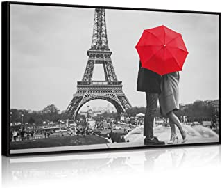 Welmeco - Modern Canvas Wall Art Romance Paris Eiffel Tower Loving Couple Under Red Umbrella Landscape Picture Black and White Prints Home Office Bedroom Decoration Ready to Hang (28