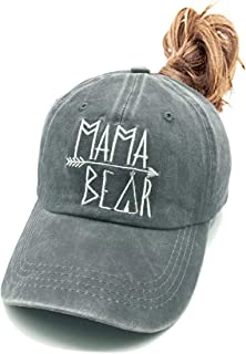 Waldeal Women`s Embroidered Ponycap, Vintage Distressed Baseball Denim Cap
