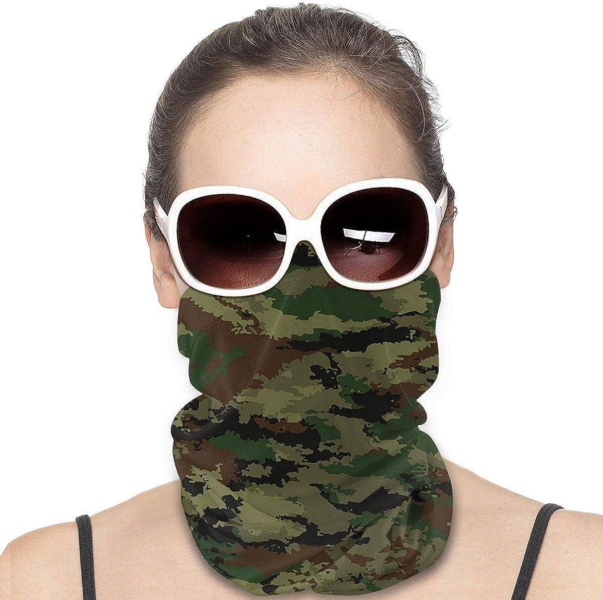 KiuLoam Women Bandanas Face Mask, Camouflage Military Background Neck Gaiter Mask Headband for Men Face Scarf Dust, Outdoors, Sports