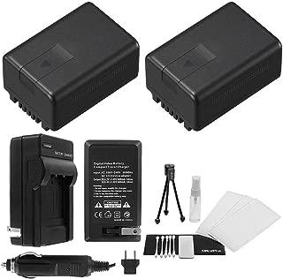 2-Pack VW-VBK180 High-Capacity Replacement Batteries with Rapid Travel Charger for Panasonic HDC-TM55 HDC-TM60 HDC-SDR HDC-H100 HDC-T70 - UltraPro Bonus Kit