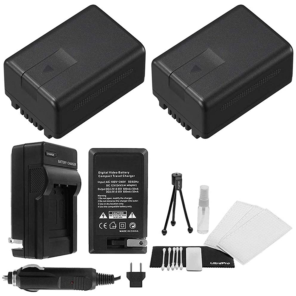 2-Pack VW-VBG130K High-Capacity Replacement Batteries with Rapid Travel Charger for Select Panasonic Camcorders. UltraPro Bundle Includes: Camera Cleaning Kit, Screen Protector, Mini Travel Tripod