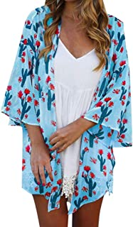 Women Loose Kimono Summer Cactus Floral Print Flare Sleeve Half Sleeve Cardigan