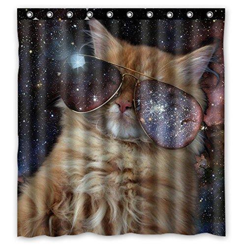 Funny Design Star Galaxy Weltall Cool Cat Duschvorhang 167,6cm (W) X 182,9cm (H) Generic Duschvorhang Müllbeutel