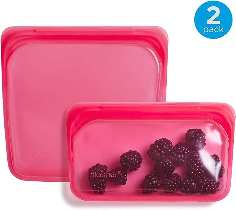 Stasher Reusable Silicone Food Bag Sandwich Bag And Snack Bag Storage Bag Raspberry Pink