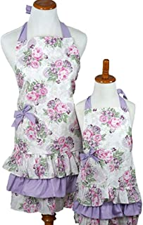 Bumblebee Linens Mommy Daughter Purple and Pink Matching Hostess Kitchen Cloth Apron Set with Pockets Woman Toddler Girl Mother