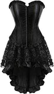 Grebrafan Steampunk Corset Skirt with Zipper,Multi Layered High Low Outfits