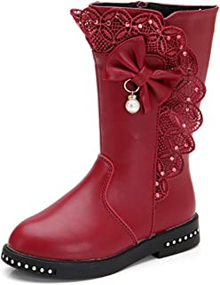 Girl's Waterproof Lace Bowknot Side Zipper Fur Lined Tall Winter Boots (Toddler/Little Kid/Big Kid)