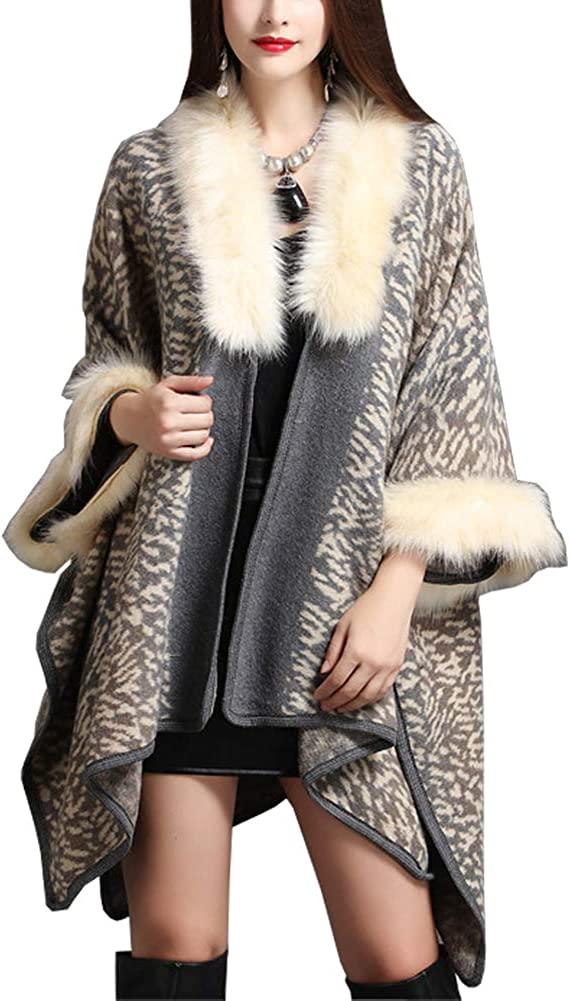 Michealboy Women's Winter Warm Faux Fur Collar Shawl and Wraps Party Evening Stole Coat Jacket