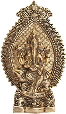 Handicrafts Paradise Ganesha Showpiece Seated On Mouse in Metal Antique Gold Plated 10.5 Inch