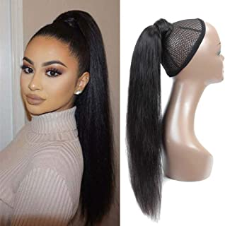 Seelaak Long Straight Remy Human Hair Ponytail Extension Wrap Around Ponytail Hair Piece with Clips Magic Paste Binding Pony Tail Hairpiece 1B# 100g/set (24inch)