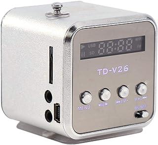 Diyeeni Mini Reproductor De Música, Estéreo De Radio FM Portátil, Elegante Altavoz, Soporte para Tarjeta TF y Disco U(Plata)