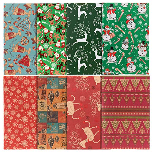 Papel de Envoltura de Regalos de Navidad, 76x50 cm Hojas Grandes, 8 Diseños, Embalaje de Regalo de Elementos de Navidad, Papel Kraft y Papel Recubierto