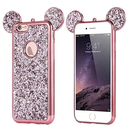 AccessoryHappy Glitter Mickey Ears Case, Luxury Creative TPU Bling Crystal Rhinestone Sparkle Glitter Diamond Case Cover Compatible with iPhone 7 Plus 8 Plus [5.5