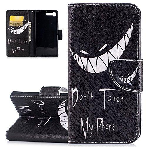 ISAKEN Sony Xperia XZ Premium Hülle, Folio PU Leder Flip Cover Brieftasche Geldbörse Wallet Hülle Ledertasche Handyhülle Tasche Schutzhülle Hülle Etui für Sony Xperia XZ Premium - Teufel Zahne
