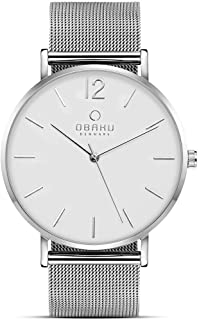 Obaku Denmark - Mens Designer Watch - Classic Yet Modern Design - Elegant Rose Gold Steel Case - Stainless Steel Mesh Band...