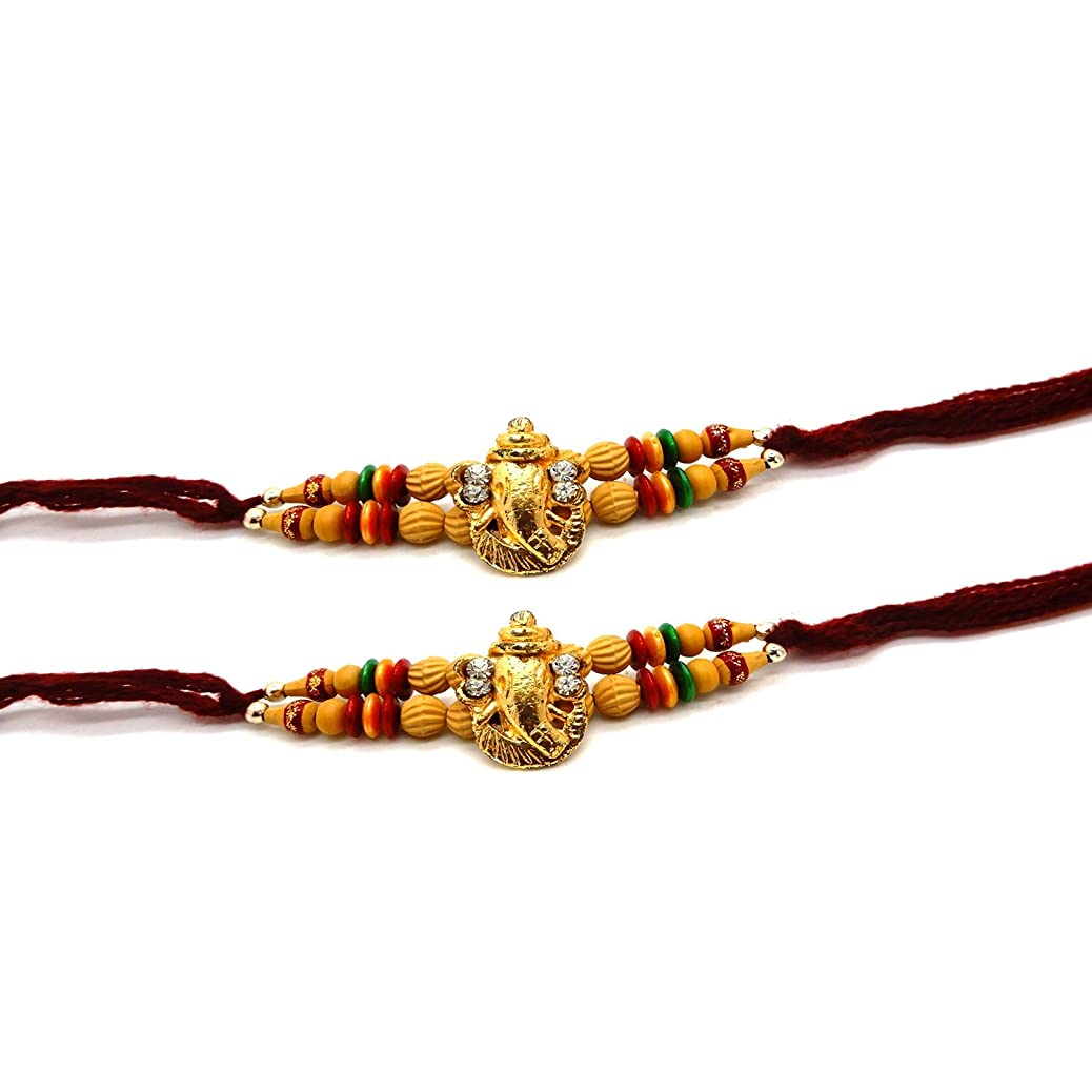 WhopperIndia Set of Two, Ganesh Design, Rakhi Thread, Raksha bandhan Gift for Your Brother, Maroon Color, Color Vary and Multi Design mwqwtwogrg