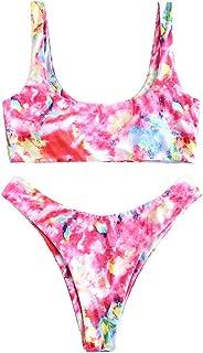 ZAFUL Women's Scoop Neck Padded Printed High Cut Bikini Set Two Piece Swimsuit