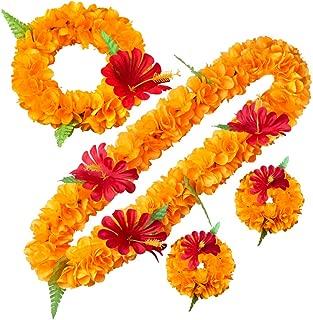 LAYSERI Hawaiian Luau Flower Leis Jumbo Necklace Bracelets Headband Set Mahalo Floral Leis (Orange)