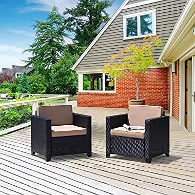 Cloud Mountain Outdoor Club Chair 2 Piece Patio Wicker Rattan Chair Set Cushioned Sofa Set Black Ergonomic Comfortable Modern Easy Assembly Patio Lawn Garden Backyard Pool Balcony with Thicker Cushion