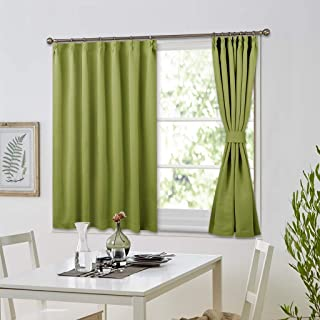 NICETOWN キッチンカーテン 80cm丈 内装飾り 遮光 カーテン 防犯対策 和室 インテリア 子ども部屋 幅100丈80cm 二枚組 グリーン