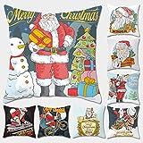 LILICAT Weihnachten Kopfkissenbezug Kissenbezug für Zuhause, Weihnachten, Elch Weihnachtsmann Bedruckt, Leinen, Sofa, Bett, quadratischer Kissenbezug, Baumwoll-Leinen 45cm*45cm