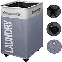 80L Collapsible Laundry Hamper/Waterproof Rolling Clothes Hamper Basket Bin with Breathable Cover and Wheels, for Bathroom...