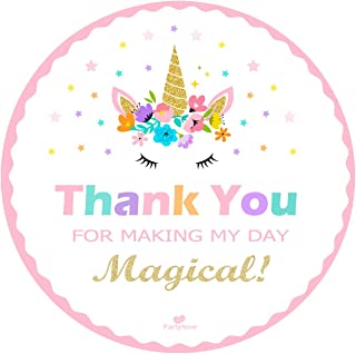 Magical Unicorn Stickers - Gold Glitter - Party Favors - Thank You Unicorn Sticker for Kids - by PartyNow