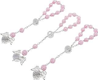 25 Pc Light Pink Color Baptism Favors with Angels Mini Rosaries Silver Plated Acrylic Beads/Recuerditos De Bautismo/Christening Favors/Decenarios/ Decades/Finger Rosaries