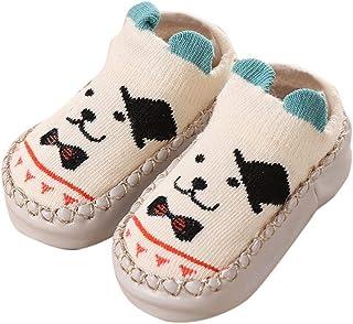 MAYOGO, Calcetines para Bebés Niña Zapatillas Primera Infancia Calcetines Cortos Antideslizantes Estampado Animales para Niños Zapatos con Puntos de Goma Zapatillas de Casa Invierno para Bebé