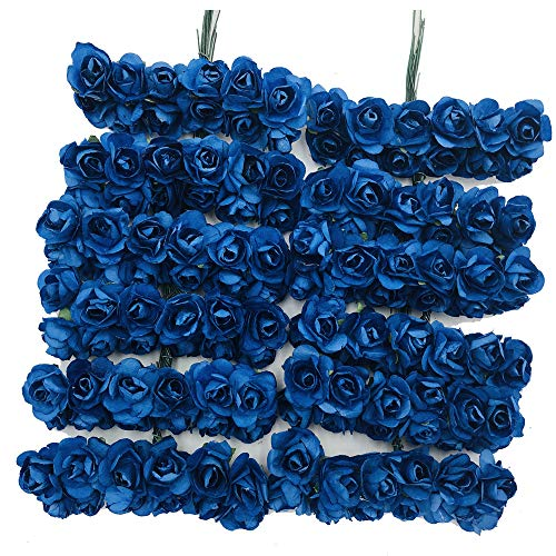zorpia Mini Fake Rose Flower Heads 144pcs Mini Artificial Mulberry Paper Roses Flower with Wire Stem DIY Wedding Flowers Accessories Make Bridal Hair Clips Headbands Dress (Navy Blue)