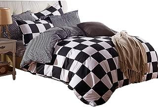 ZHIMIAN Microfiber Modern 3 Piece Reversible Duvet Cover Sets Black and White Contrast -1 Duvet Cover + 2 Pillow Shams(King Grid)