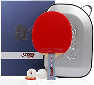 DHS Ping Pong Paddle Table Tennis Racket, Hurricane Paddle Balls Carrying Case Set
