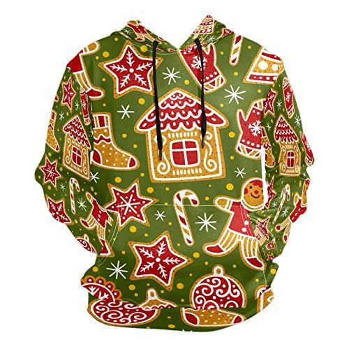 Mode 3D Druck Cartoon Weihnachten Keks Muster Unisex Pullover Coole Hoodies mit Kängurutasche für Damen und Herren Gr. XXL, Mehrfarbig