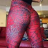 Mallas Leggings Mujeres De Cintura Alta Elástico Push Up Spider Web Print Longitud del Tobillo Polyeste Leggin Casual Fitness Leggin S Rojo