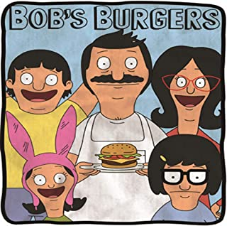 Bob's Burgers Soft Fleece Blanket - Officially licensed Bobs Burgers colorful Soft Fleece Throw Featuring Bob with a Burger, Linda, Louise, Tina & Gene!