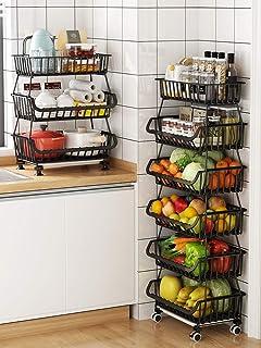 RETMI Corbeille à fruits noire avec 6 compartiments - Pour organiser la cuisine - Panier métallique - Multiusage pour gard...