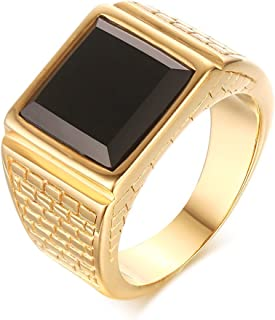 13mm Stainless Steel Black Square Agate Signet Band Ring for Men Wedding Engagement,Gold Plated