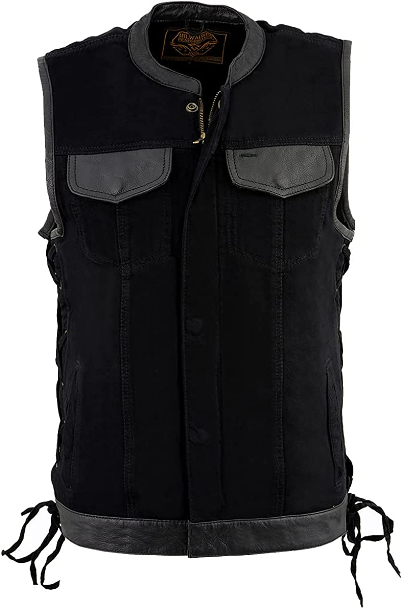 Milwaukee Leather MDM3011 Men's Black Side Lace Denim Vest with Leather Trim and Hidden Zipper