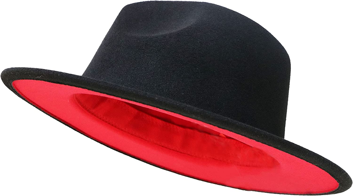 A surprise price is realized Max 49% OFF Women Felt-Fedora-Hat Classic Wide Brim Pan Two-Tone Wool Womens