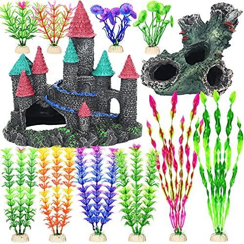 Fish Tank Decorations, 12 Pack Aquarium Decor Accessories Set with Castle and Tree Trunk Cave for Fish Hideouts, Artificial Plastic Plants Ornament Small & Medium